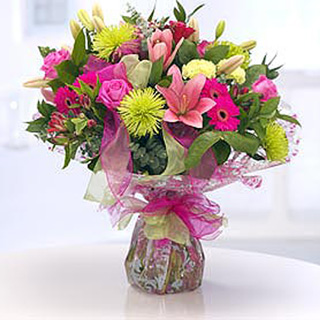 Fuchsia & Lime Delight Hand-Tied Bouquet
