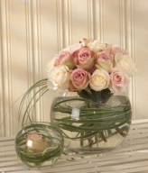Pastel Bouquet in Glass Bowl