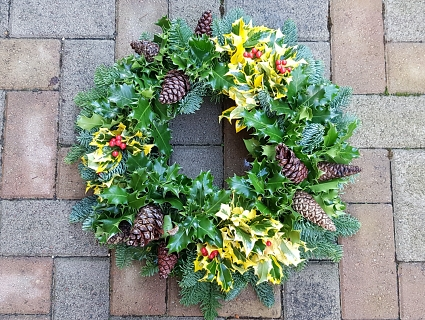 Festive Fresh Holly Wreath