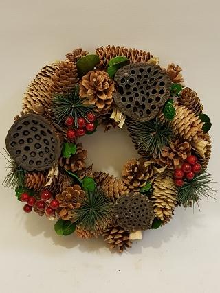 Natural Pine and Lotus Wreath