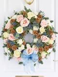 Seasonal Pastel Rose Door Wreath
