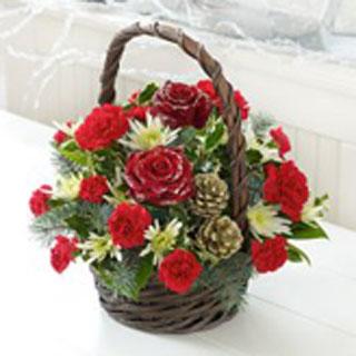 Rustic Christmas Basket Flowers Delivered Edinburgh