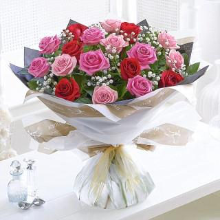 Valentine's Mixed Rose Hand-tied Bouquet