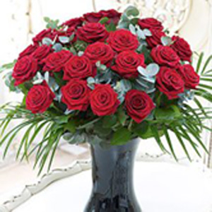 Valentino Red Roses Vase Arrangement