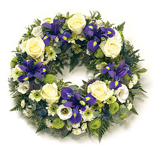 Traditional round Funeral Wreath (Blue)
