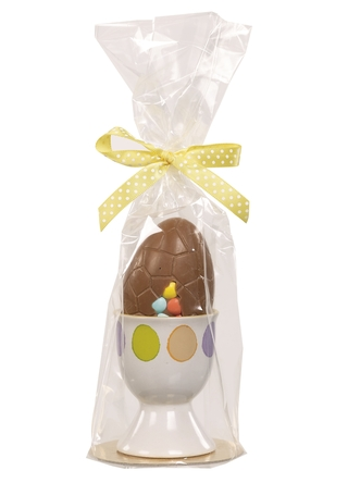 Van Roy Belgian Chocolate Decorated Egg in Egg Cup