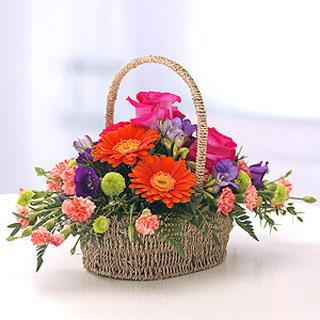 Vibrant Wicker Basket Arrangement