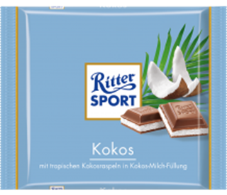 Ritter Sport with Coconut and Milk Filling